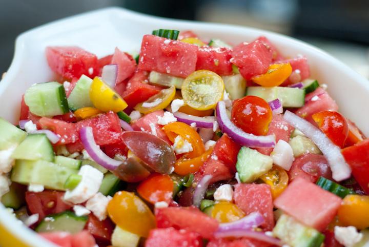 Pure Summer: Watermelon, Tomato, Feta Salad – I am a Honey Bee