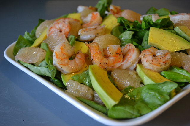 Spinach Salad with Shrimp, Avocado, and Grapefruit with Citrus ...