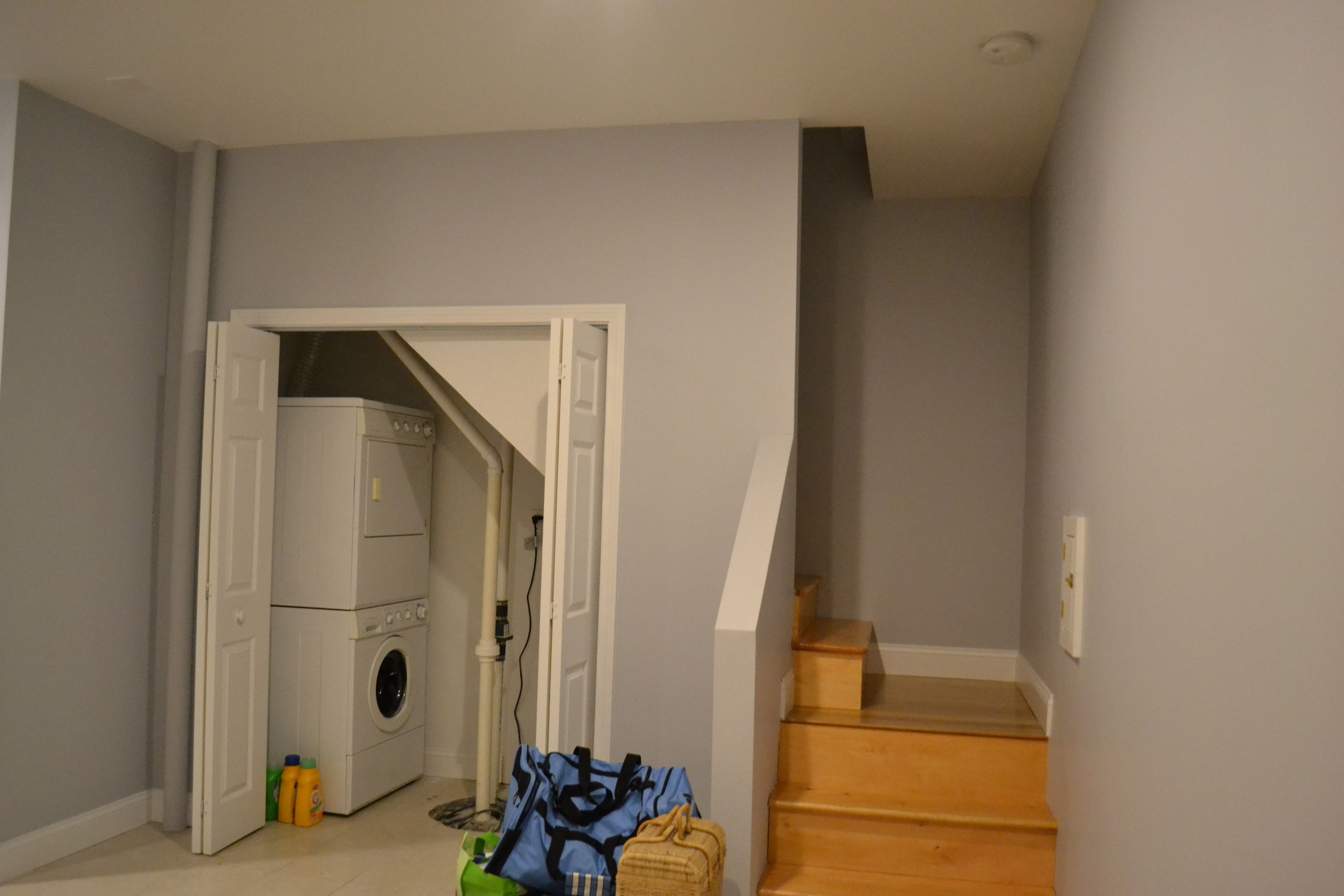 finished basement bathroom laundry stairs