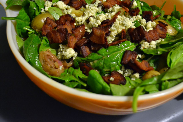 ... and Blue Cheese Spinach Salad with Warm Mustard and Shallot Dressing