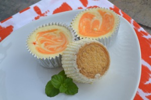 Mini Creamsicle Cheesecakes with Creamsicle Oreo Cookie Crusts