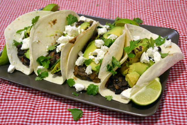 Spiced Black Bean, Grilled Avocado, and Goat Cheese Tacos- SRC | I am ...