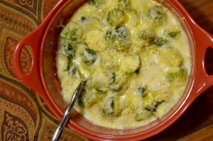 Extra Cheesy Brussels Sprout Gratin