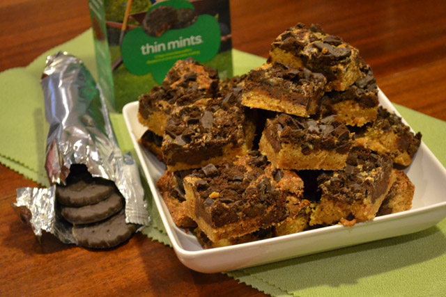 Thin Mint Gooey Cake Bars