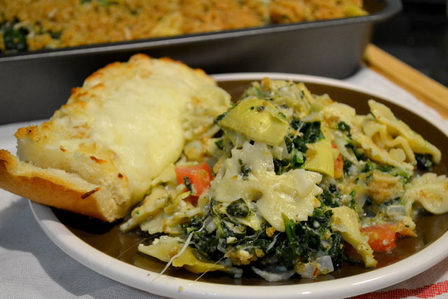 Spinach Artichoke Pasta Bake- SRC | I am a Honey Bee