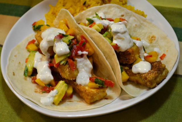 Crispy Tofu Tacos with a Mango Salsa-1