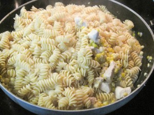 Fusilli with Fresh Corn and Chicken in a Garlic Cream Sauce-10