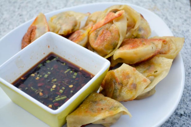 Vegetarian Wontons Spicy Soy Dipping Sauce-4