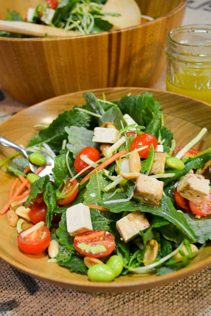 Colorful Asian Salad with Baked Tofu-1