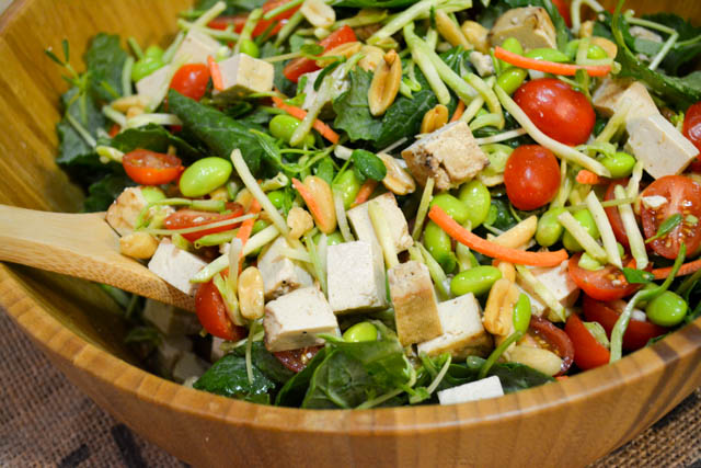 Colorful Asian Salad with Baked Tofu-2