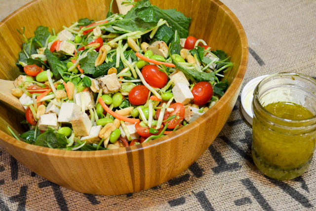 Colorful Asian Salad with Baked Tofu-4