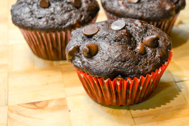 Double Chocolate Banana Muffins-4