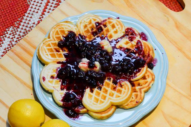 Lemon Ricotta Waffles Blueberry Sauce-1