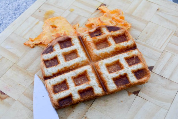 Waffle Iron Grilled Cheese-1