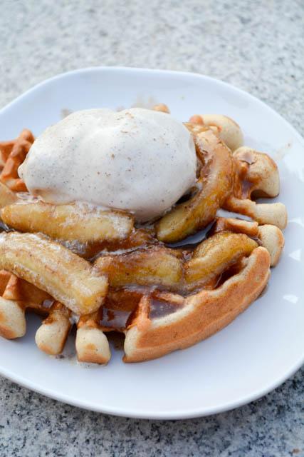 Banana's Foster Waffles