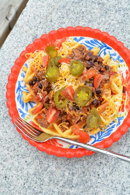 Chili Topped Cornbread Waffles_03