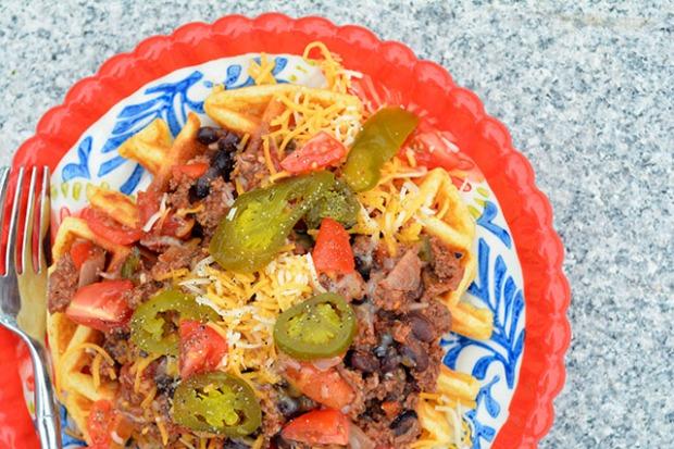 Chili Topped Cornbread Waffles_04