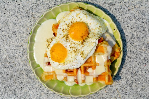 Croque Madame Puffle Waffles-1