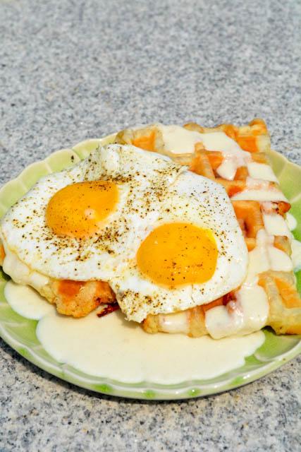Croque Madame Puffle Waffles
