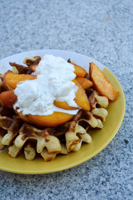 Sour Cream Waffles with Bourbon Peach Compote and Vanilla ...