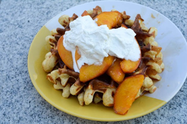Sour Cream Waffles with Peach Compote-5