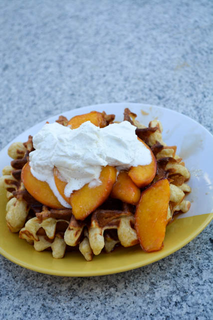 Sour Cream Waffles with Peach Compote