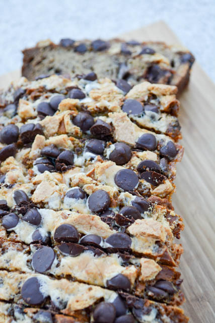 the fun s'mores ingredients IN and ON the banana bread. It's ...