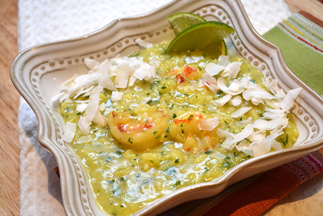 Shrimp & Curried Coconut Risotto- SRC | I am a Honey Bee