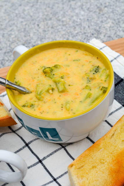 Broccoli Cheddar Soup for Two-3