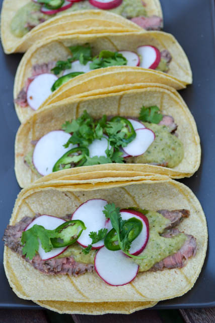 Carne Asada Tacos with Roasted Tomatillo Salsa-2