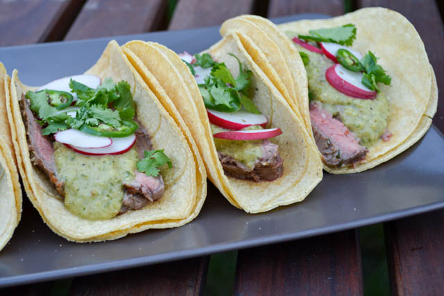 Carne Asada Tacos with Roasted Tomatillo Salsa-3