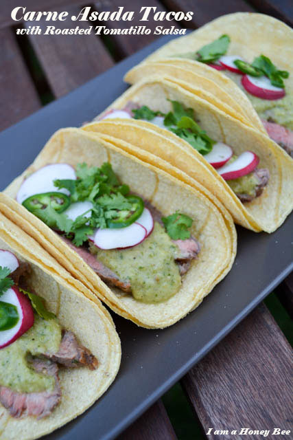 Carne Asada Tacos with Roasted Tomatillo Salsa
