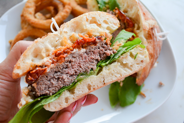The Mega Goat Cheese and Slow Roasted Tomato Topped Burger | I am a ...