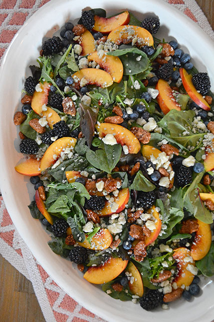 Nectarine and Berry Topped Salad with Pecans and Gorgonzola